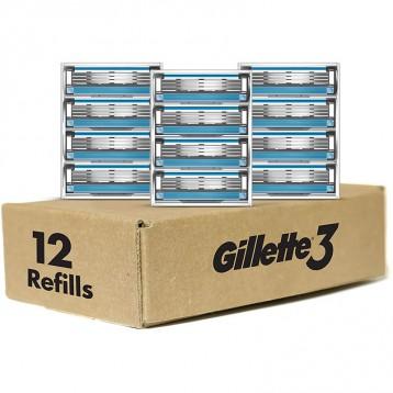 73.52元美國直郵!Gillette 吉列3 男士剃須刀片替換裝12片
