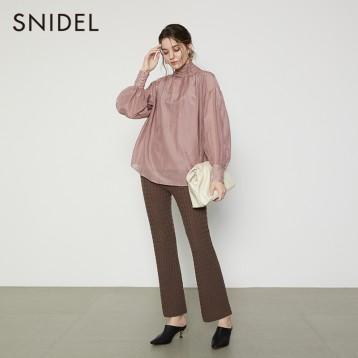 SNIDEL SWFB204066 复古宫廷风纯色打褶雪纺衬衫 亚马逊海外购