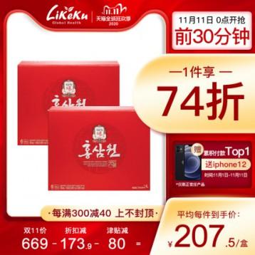 每包2.675【预售好价】 韩国正官庄进口6年根高丽参红参人参液饮品60包*2盒