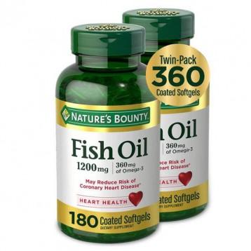 ¥98.12元美国直邮【黑五】Nature's Bounty 自然之宝 深海鱼油1200mg*180粒*2瓶