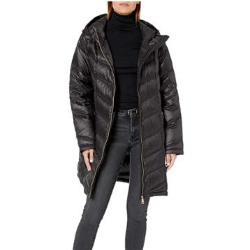 Calvin Klein 女士轻量防寒中长款连帽羽绒服