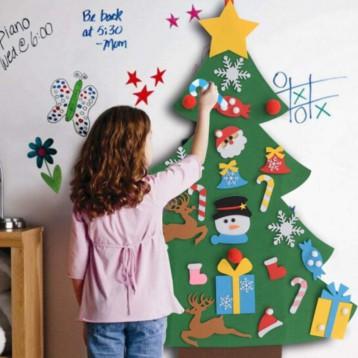 24.90元包郵!歐美兒童不織布手工圣誕樹 DIY粘貼掛件 平面掛板款+5米燈串