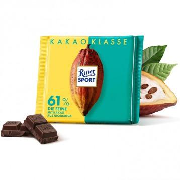 163.99元德国直邮!RITTER SPORT瑞特斯波德  61%精细黑巧克力100g*12块盒装