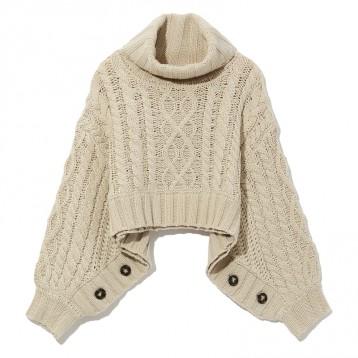 512元包邮【街头潮牌】MURUA 饰纽扣绞花针织毛衫(两色可选)