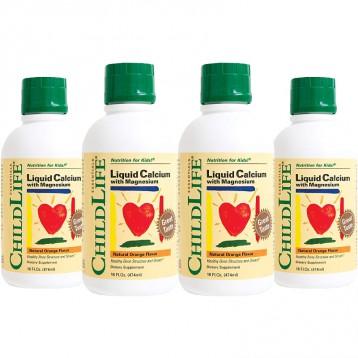 372.72元美國直郵!ChildLife 童年時光 含鎂的嬰兒液體鈣474ml*4瓶  天然香橙味(6個月-12歲)