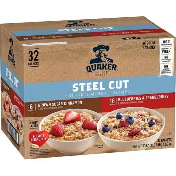 130.62元美国直邮!Quaker 桂格 快手3分钟高纤燕麦片 2种口味混合(32包净重1.5KG)
