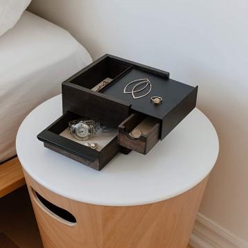 加拿大创意家居品牌:umbra 首饰手表收纳盒 STOWIT JEWELRY BOX 黑色/胡桃色