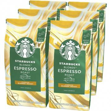 100%阿拉比卡全豆:STARBUCKS 星巴克 BLONDE 意式烘焙咖啡豆200g*6袋