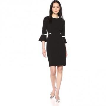 正装连衣裙:Calvin Klein 卡尔文·克莱恩 女式 撞色边喇叭袖连衣裙