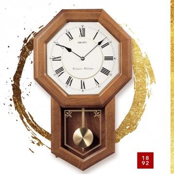经典学院挂钟:Seiko 精工 浅橡木传统学院风格挂钟