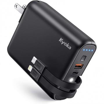 日亚销量第一:KYOKA 移动电源 9600mAh (PD18W对应/内置电缆/插座一体)
