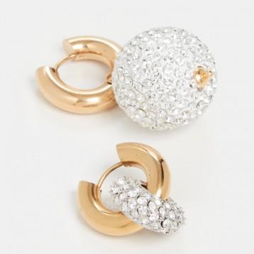 清倉好價【法國制作】Timeless Pearly水晶圈式耳環