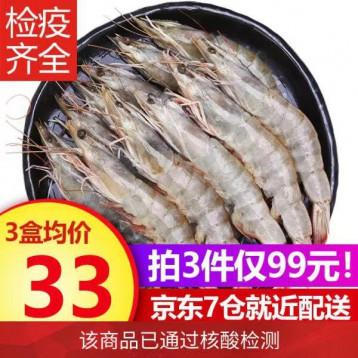 廣東湛江大蝦【已核算檢測】九善食 冰凍國產海蝦 500g/盒 18-25只凈重400g/盒