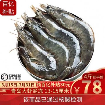 青島大蝦大盒裝【已核算檢測】蝦有蝦途 鹽凍青蝦鮮蝦毛重4斤裝 13-15厘米精選