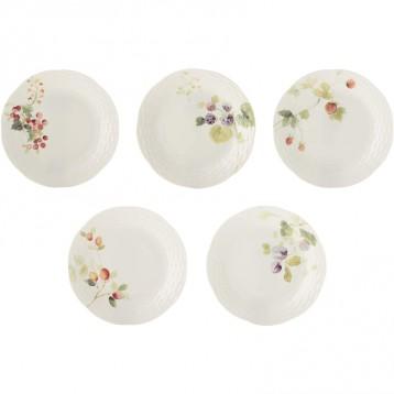 日本頂級骨瓷品牌:NARUMI 鳴海 Lucy Garden 17cm骨瓷盤5件套 96010-21901P