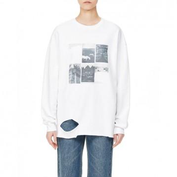 韩国设计师品牌:ROCKET X LUNCH 挖剪细节印花圆领卫衣 国淘