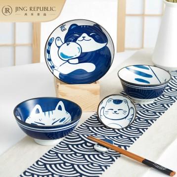 日式手绘独享餐具6件套:共禾京品 可爱猫咪陶瓷餐具一人食套装