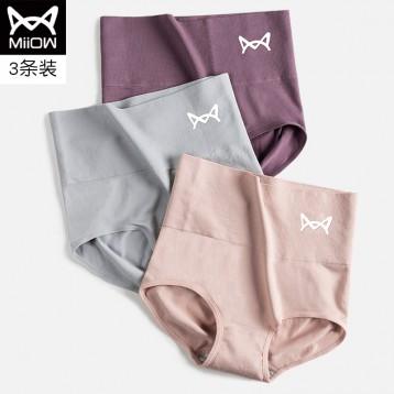 石墨烯抗菌:猫人高腰内裤 女款收腹提臀纯棉裆内裤 3条组