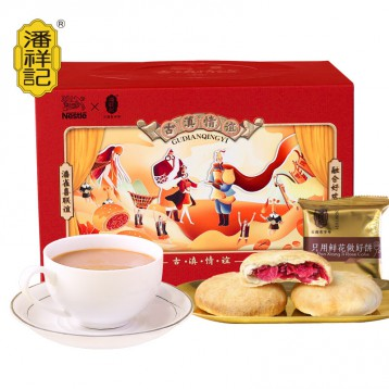 潘祥记✖️雀巢咖啡联名:潘祥记鲜花饼+咖啡下午茶点礼盒(10枚玫瑰花饼+5袋咖啡)