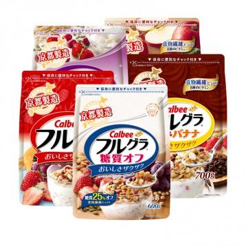 4口味任选2袋:日本进口 卡乐比Calbee水果麦片(600-700g/袋)