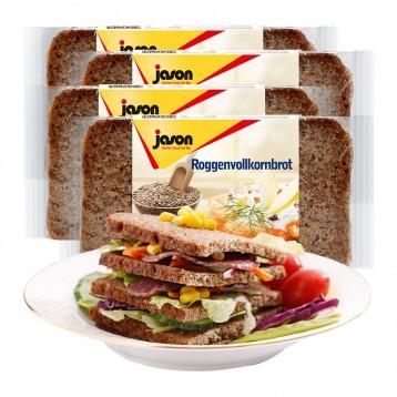 健身黑代餐【0蔗糖】德國捷森 全黑麥全麥 高纖低脂無蔗糖吐司500g*4袋