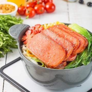 更少淀粉更低脂肪【 新品】小猪呵呵 原味午餐肉198g*3盒