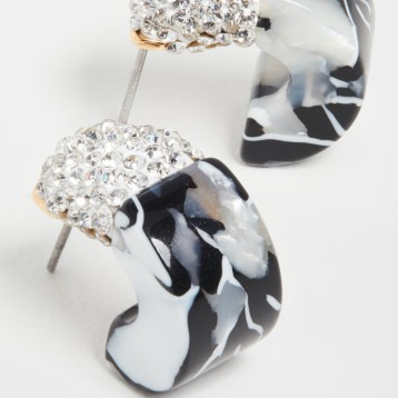 设计师品牌:Lele Sadoughi 水晶撞色贴耳圈式耳环