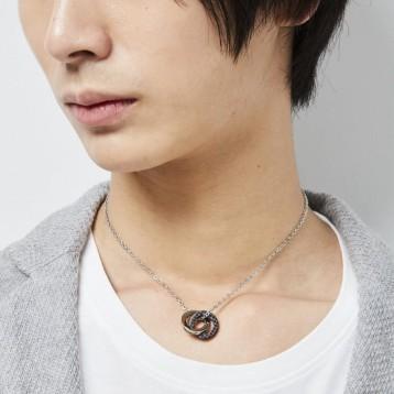 LION HEART(ライオンハート) 双环 男款方晶锆石项链 04N135SM
