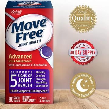 夜间修复新配方:Schiff 旭福 Move Free Ultra Plus  Melatonin 葡萄糖胺软骨素褪黑素片80粒