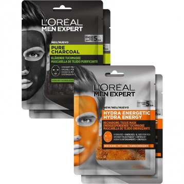 5分鐘速敷男士面膜【限時¥76.67】L'Oréal Paris 巴黎歐萊雅 男士深度清潔+勁能保濕面膜套裝 120g