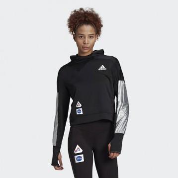 跑步装备:adidas 阿迪达斯 SPACE HOODIE W 短款套头连帽运动衫