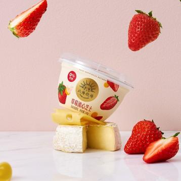 0糖低卡口感濃厚【新口味·新低好價】北海牧場 草莓流心芝士酸奶140g*12杯