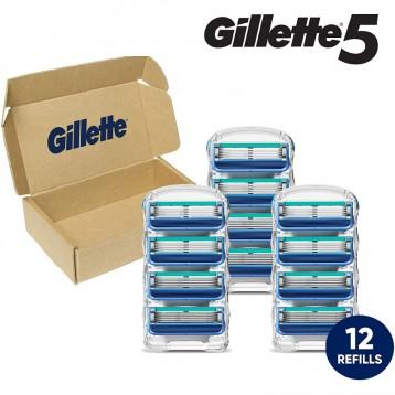 5系替換刀頭【限時¥113.29】Gillette 吉列5 男士剃須刀刀頭12支