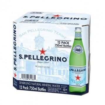 大瓶家庭装【阿尔卑斯水】意大利原装进口 圣培露天然气泡水玻璃瓶750mx12瓶箱装
