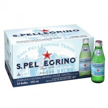 阿尔卑斯山天然气泡矿泉水:意大利原装进口 圣培露气泡水玻璃瓶250mx24瓶箱装
