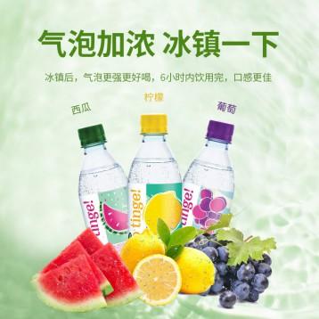 低糖0脂0色素:事必胜 马来西亚进口 水果味天然气泡水24瓶(柠檬葡萄西瓜)
