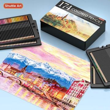 海淘:Shuttle Art 油性彩色鉛筆174色套裝(含涂色書、素描本、鉛筆刀等)