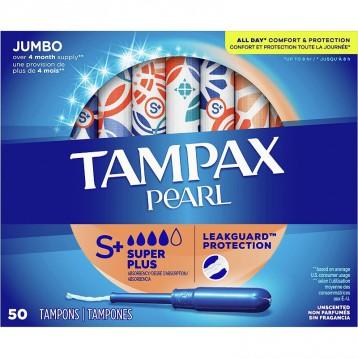 Tampax丹碧丝【超大吸量Supper Plus】珍珠导管卫生棉条无香型50支*4盒装(共200支)