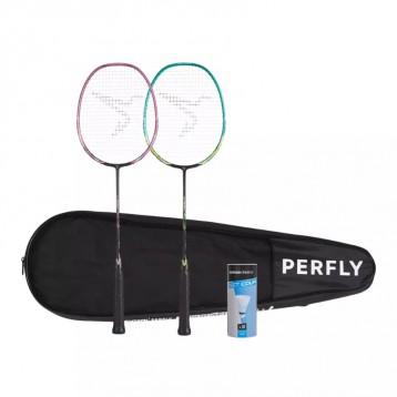 初学入门级:成人羽毛球球拍套装一对BR 530-绿色粉色