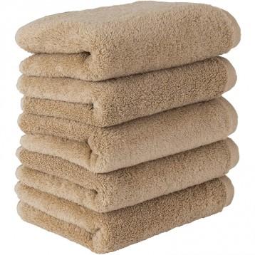 日亚限定款【日本技术】毛巾研究所 纯棉毛巾5条装 沙米色(80*34cm)