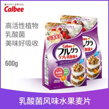 乳酸菌酸奶风味:日本卡乐比 水果麦片600gX2袋